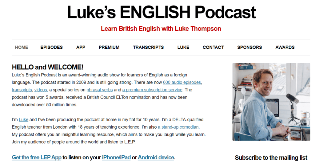 teacherluke - strona do nauki języka angielskiego